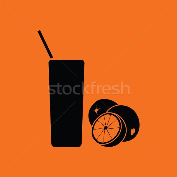 Stockfoto: Sinaasappelsap · glas · icon · oranje · zwarte · sport