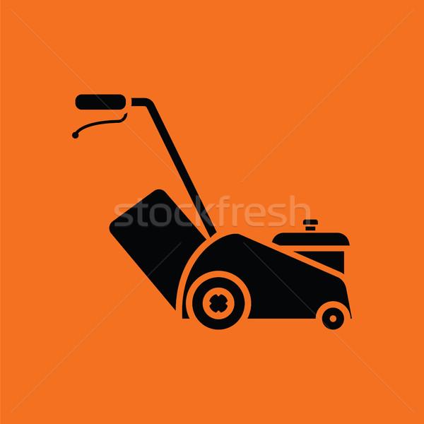 Fűnyíró ikon narancs fekete munka felirat Stock fotó © angelp
