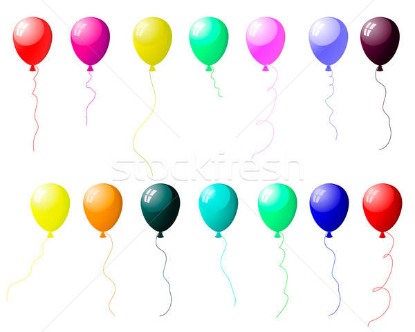 colourful balloons set with glare Stock photo © angelp