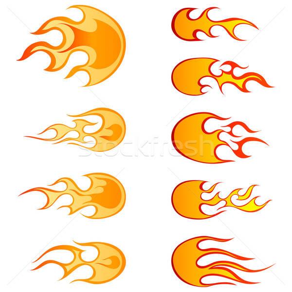 Tűz minták szett különböző tűzgömbök terv Stock fotó © angelp