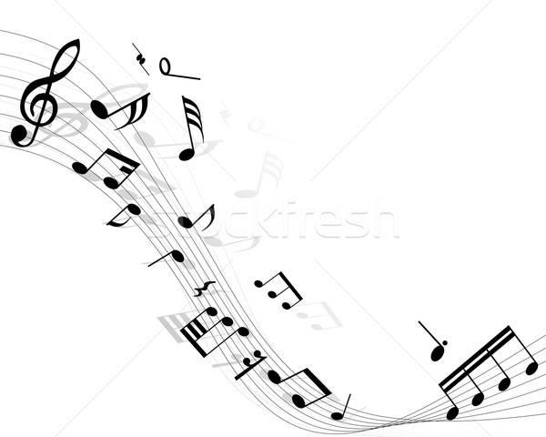 Notes de musique lignes fond disco peinture noir Photo stock © angelp