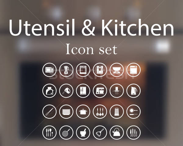 Utensil and kitchen icon set Stock photo © angelp
