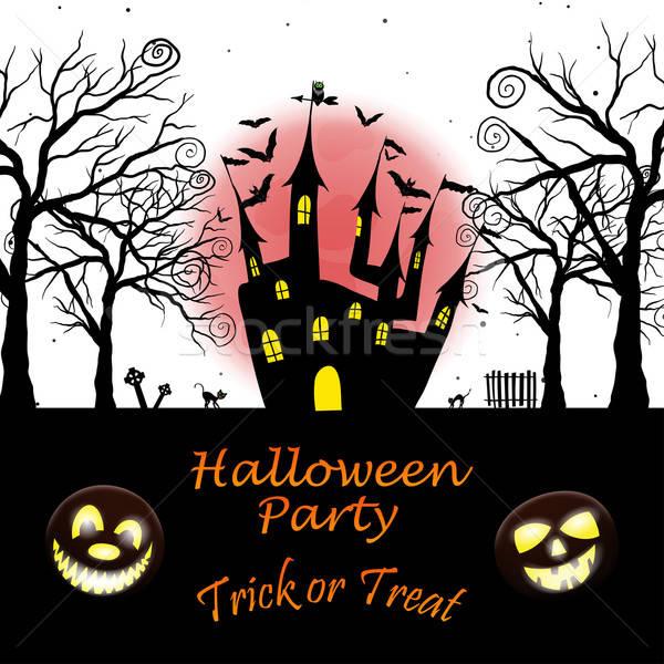 Halloween biglietto d'auguri felice elegante design zucca Foto d'archivio © angelp
