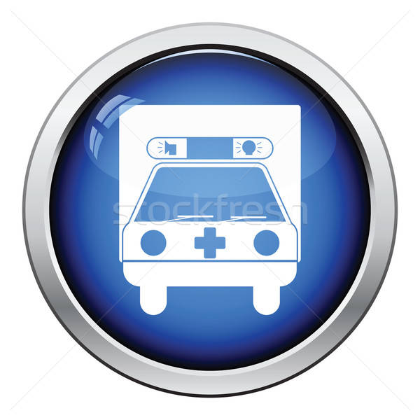 Ambulance auto icon glanzend knop ontwerp Stockfoto © angelp