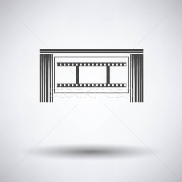 Sinema tiyatro oditoryum ikon gri film Stok fotoğraf © angelp