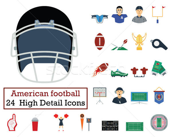 Zestaw 24 amerykański piłka nożna ikona Zdjęcia stock © angelp