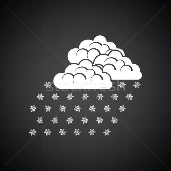 Kar yağışı ikon siyah beyaz gökyüzü soyut arka plan Stok fotoğraf © angelp