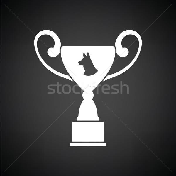 Perro premio taza icono blanco negro fondo Foto stock © angelp