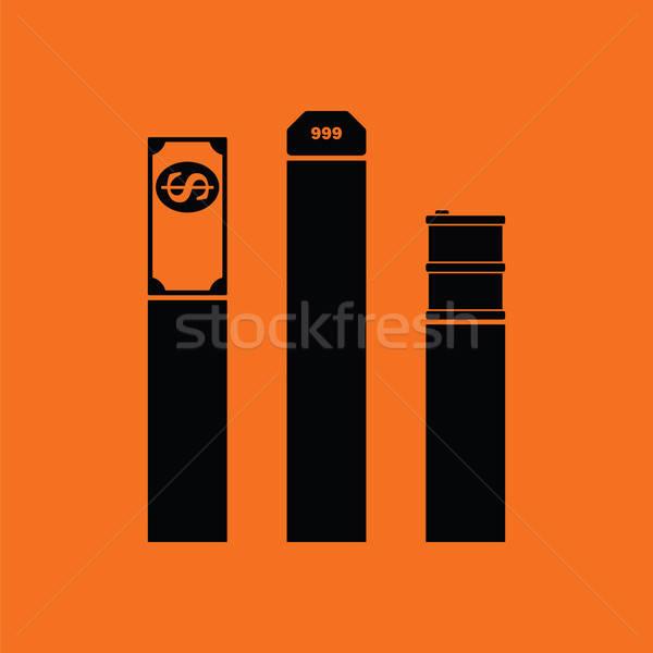 Olaj dollár arany diagram ikon narancs Stock fotó © angelp