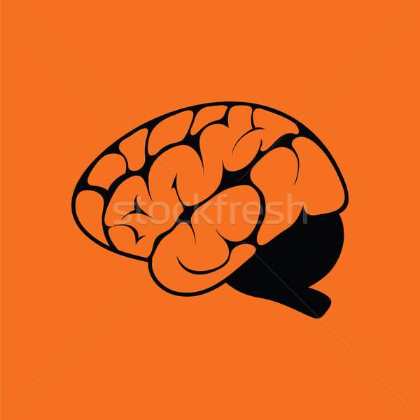 脳 アイコン オレンジ 黒 医療 技術 ストックフォト © angelp