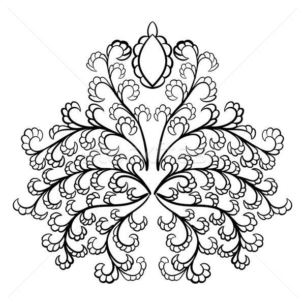 Adamaszek godło stylu biały kwiat tkaniny Zdjęcia stock © angelp