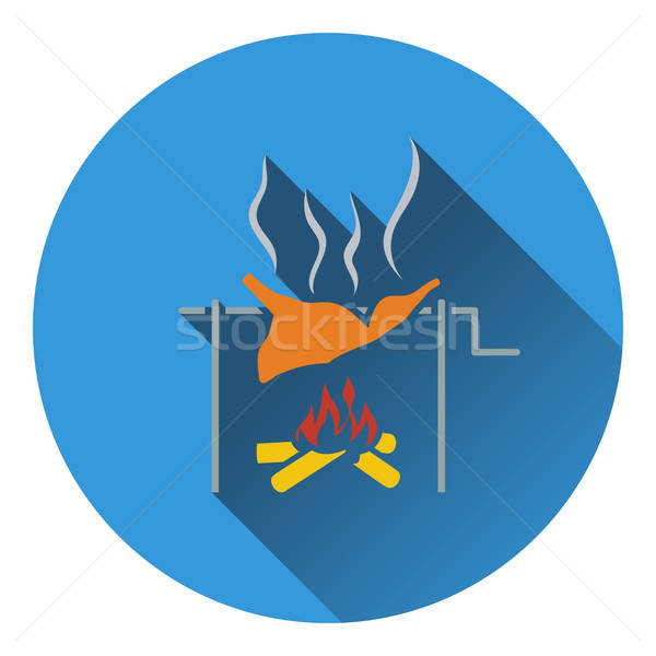 Icon of roasting meat on fire Stock photo © angelp