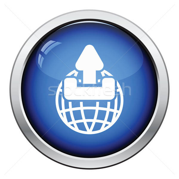 Globe with upload symbol icon Stock photo © angelp