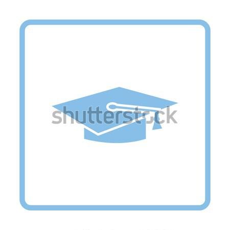 Icon afstuderen cap glanzend knop ontwerp Stockfoto © angelp