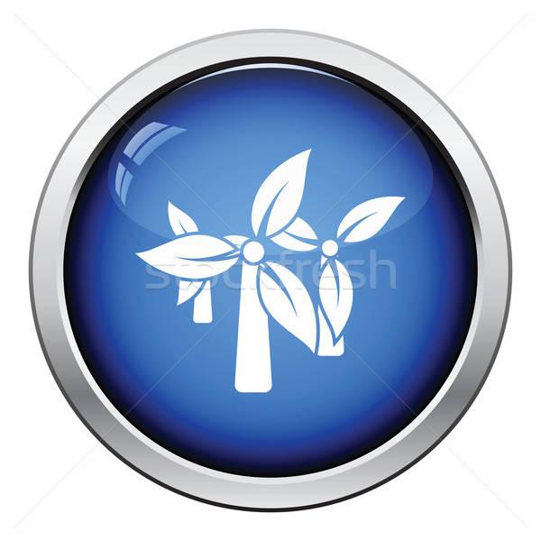 ветер мельница листьев икона кнопки Сток-фото © angelp