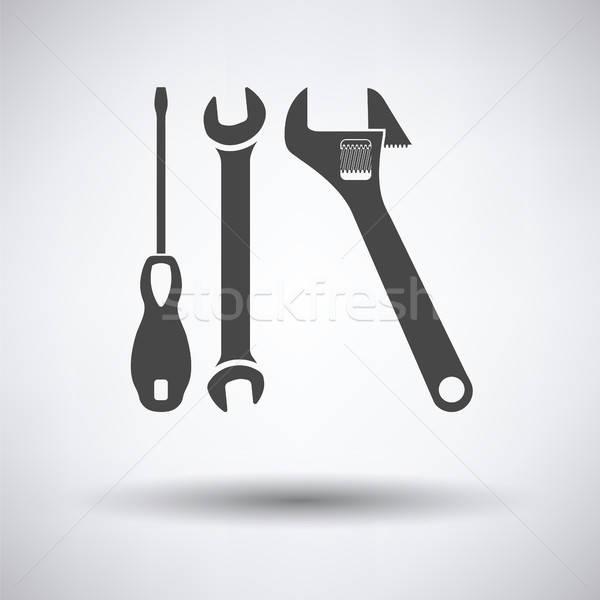 Sleutel schroevendraaier icon grijs auto ontwerp Stockfoto © angelp