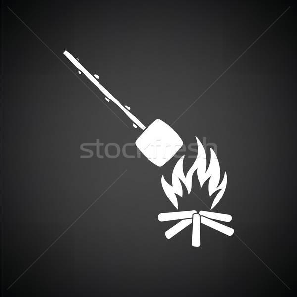 Camping fuego malvavisco icono blanco negro árbol Foto stock © angelp