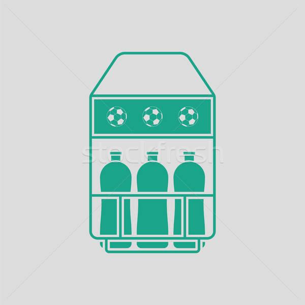 футбольное поле бутылку контейнера икона серый зеленый Сток-фото © angelp