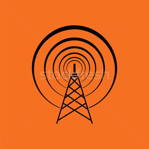 Radio antenne icône orange noir affaires Photo stock © angelp