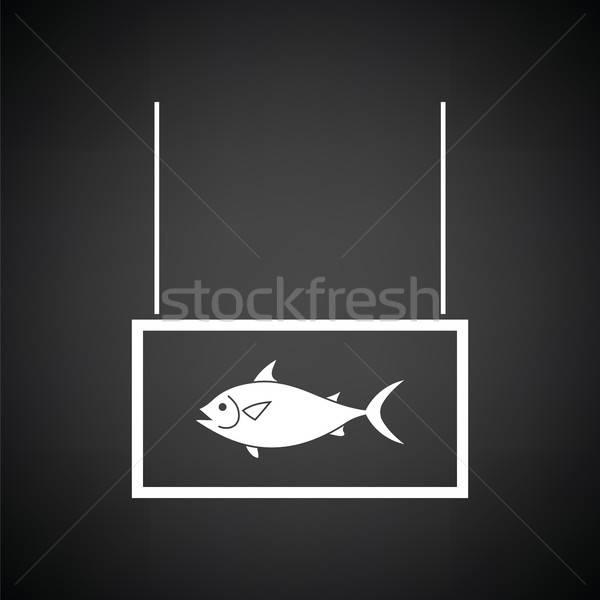 рыбы рынке отдел икона черно белые морем Сток-фото © angelp