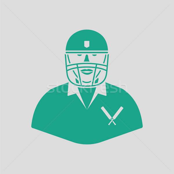 Críquete jogador ícone cinza verde homem Foto stock © angelp