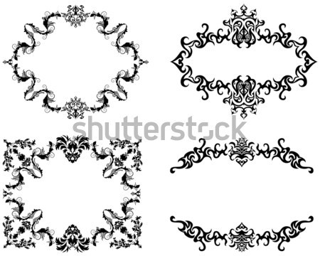 Abstract floral vector frame backgrounds set in Victorian style Stock photo © angelp