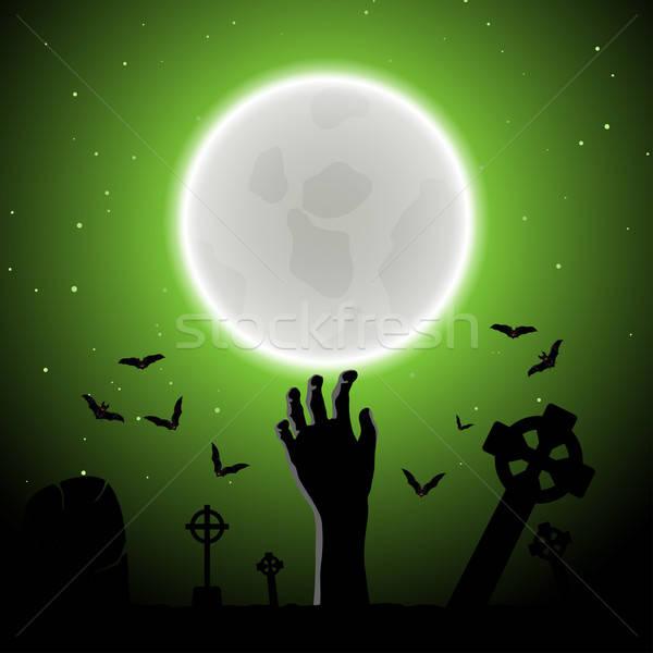 Stock fotó: Halloween · üdvözlőlap · boldog · elegáns · terv · zombi