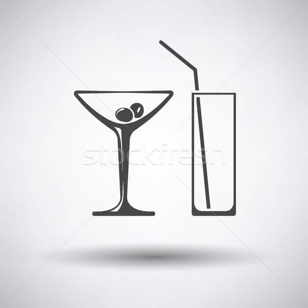 Verres icône gris fête anniversaire verre Photo stock © angelp