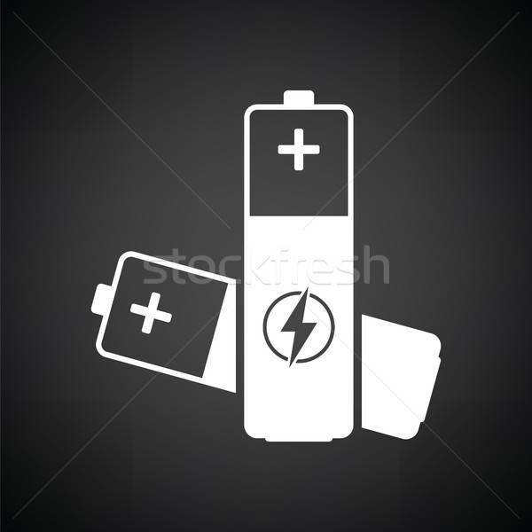 Elétrico bateria ícone preto e branco tecnologia arte Foto stock © angelp