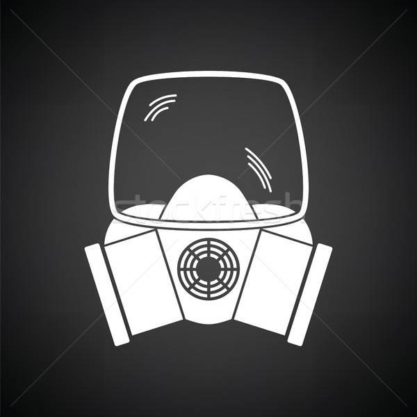 Fogo máscara ícone preto e branco preto serviço Foto stock © angelp