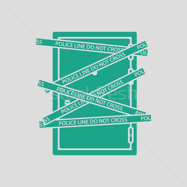 место совершения преступления двери икона серый зеленый крест Сток-фото © angelp