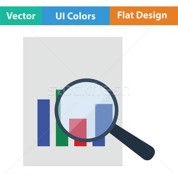 Magnificent glass on paper with chart icon Stock photo © angelp