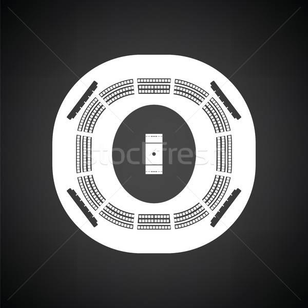 Kriket stadyum ikon siyah beyaz spor arka plan Stok fotoğraf © angelp