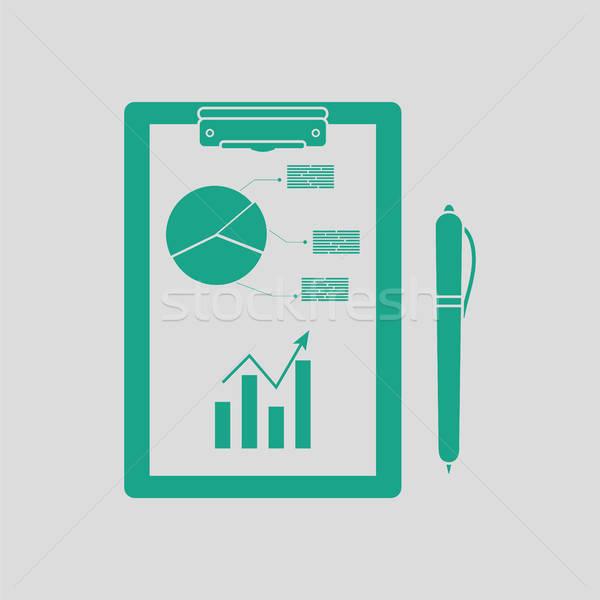 écrit comprimé analytics graphique stylo icône Photo stock © angelp