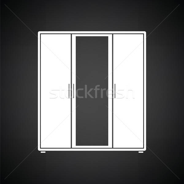 гардероб зеркало икона черно белые женщину домой Сток-фото © angelp