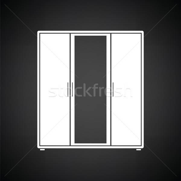 Armoire miroir icône blanc noir femme maison Photo stock © angelp