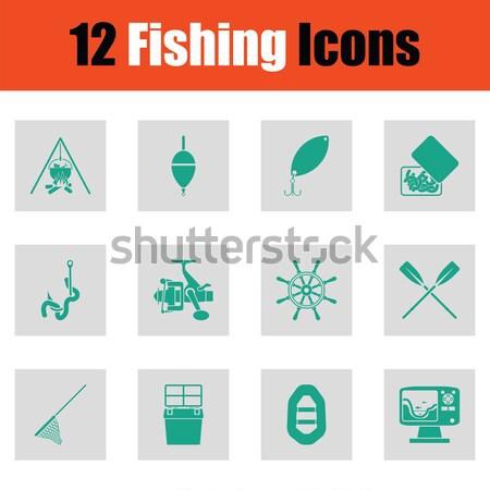 Ingesteld jacht iconen groene grijs Stockfoto © angelp