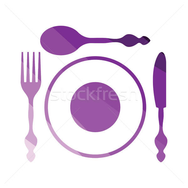 Silverware and plate icon  Stock photo © angelp