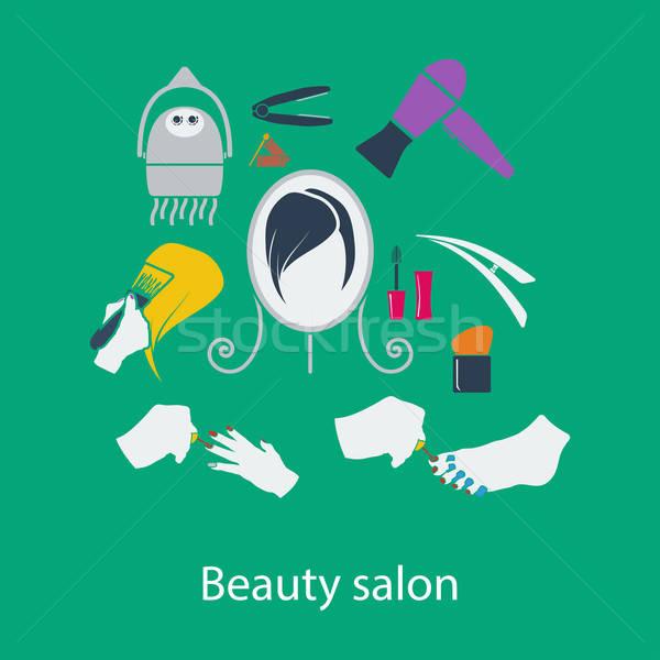 Szépségszalon terv ui színek arc haj Stock fotó © angelp