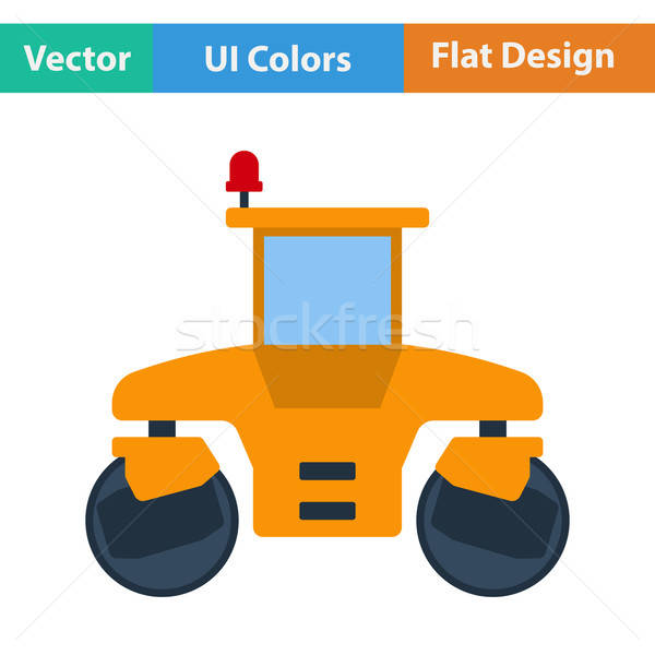 Flat design icon of road roller Stock photo © angelp