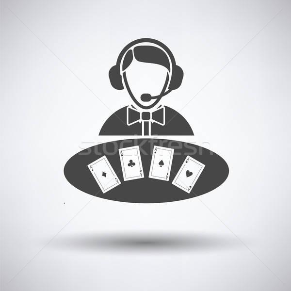 Casino revendeur icône gris fond signe Photo stock © angelp