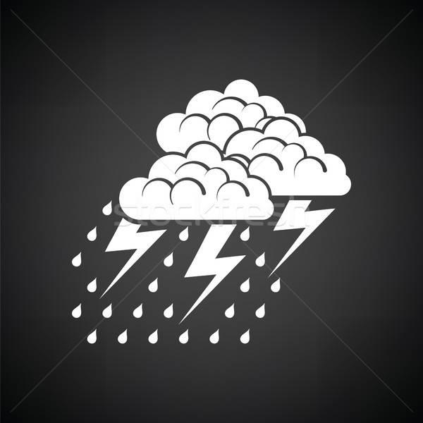 Sağanak ikon siyah beyaz yağmur web siyah Stok fotoğraf © angelp