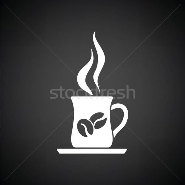 Stock fotó: Kávéscsésze · ikon · feketefehér · kávé · bár · ír