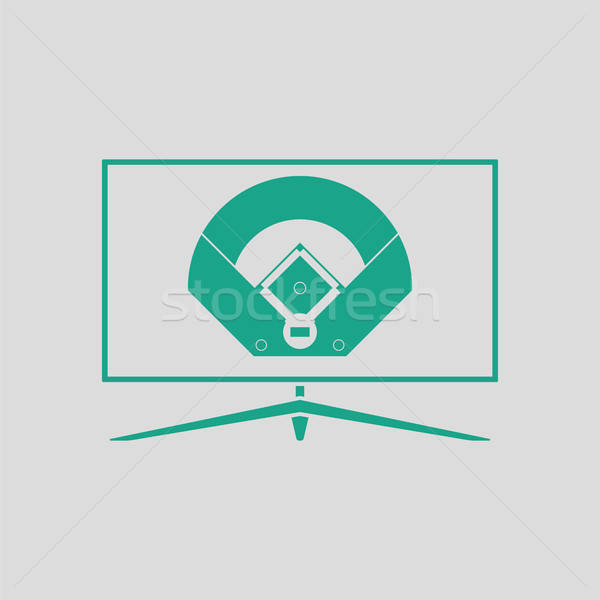 Beisebol tv tradução ícone cinza verde Foto stock © angelp