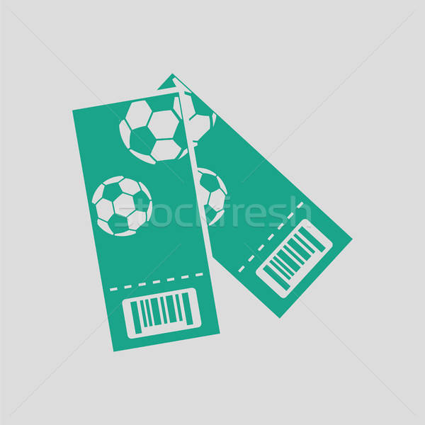 Dois futebol bilhetes ícone cinza verde Foto stock © angelp