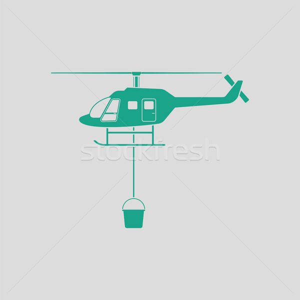 огня службе вертолета икона серый зеленый Сток-фото © angelp
