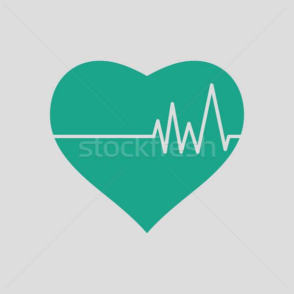 Corazón cardio diagrama icono gris verde Foto stock © angelp