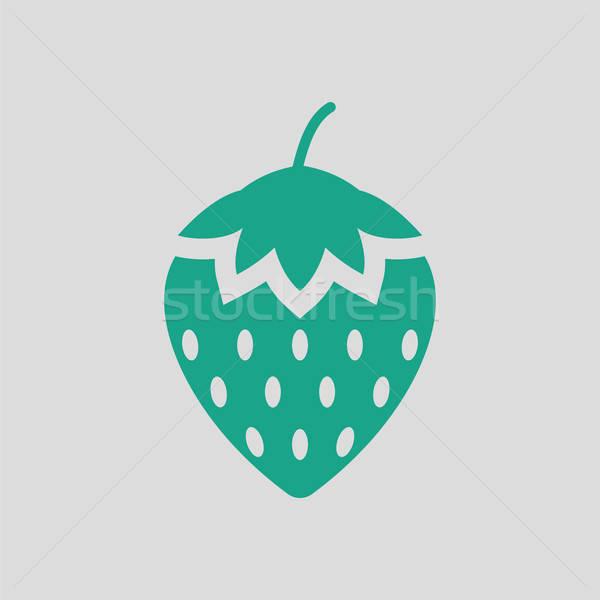 Fresa icono gris verde frutas signo Foto stock © angelp