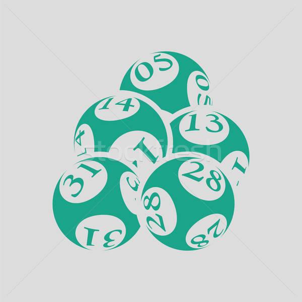 Lottó golyók ikon szürke zöld pénz Stock fotó © angelp