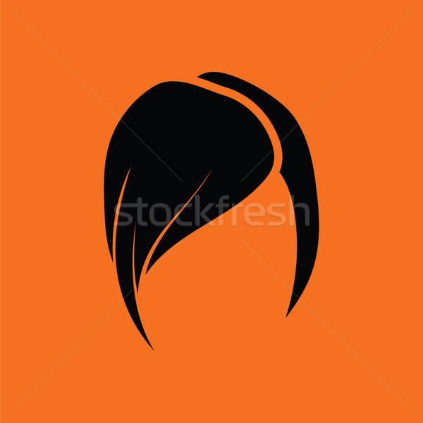 Coiffure icône orange noir femme visage Photo stock © angelp